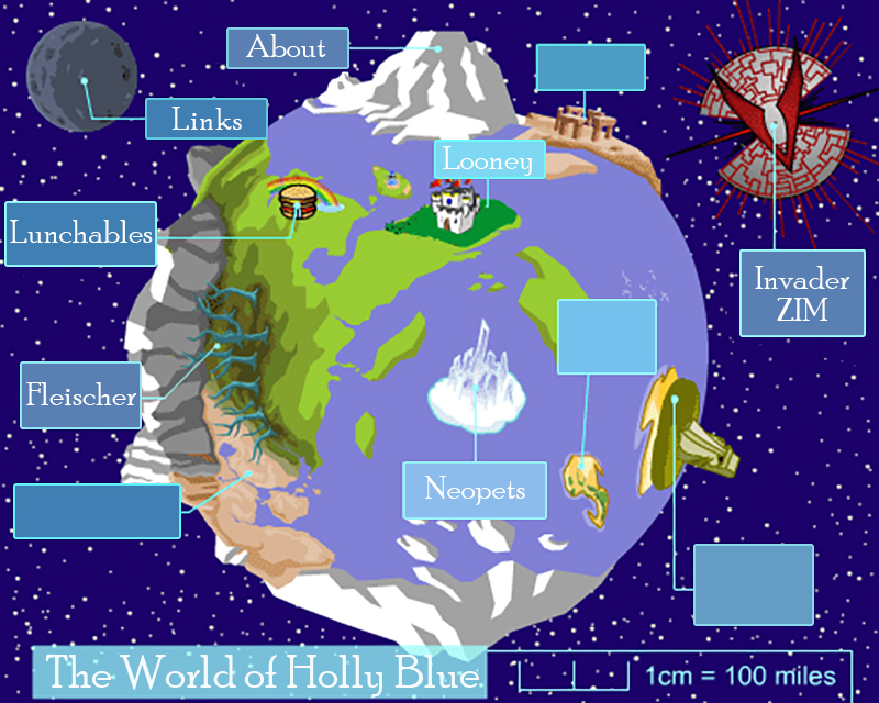 Map of the world of Neopia relabelled to contain site pages.